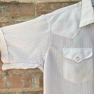 Vintage Shirts - Vintage Men's Shirt White Western Pearl Snap 16.5